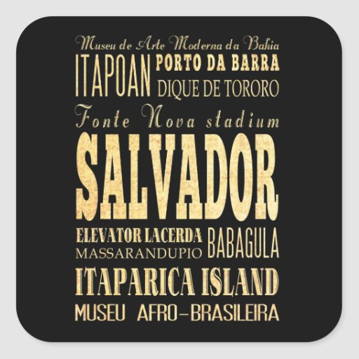 Salvador City of Brazil Typography Art Stickers