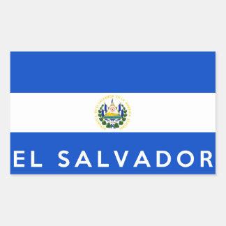 salvador country flag symbol name text rectangular sticker