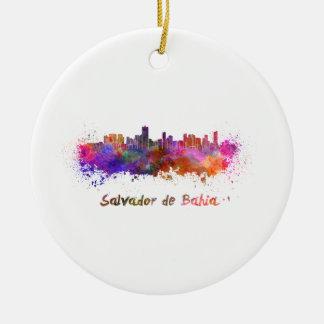 Salvador de Bahia skyline in watercolor Ceramic Ornament