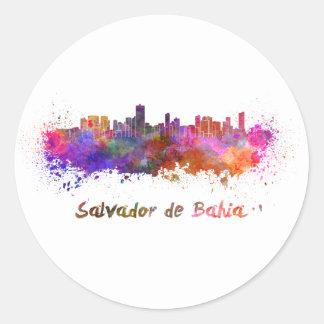 Salvador de Bahia skyline in watercolor Classic Round Sticker
