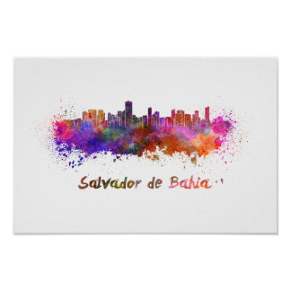 Salvador de Bahia skyline in watercolor Poster