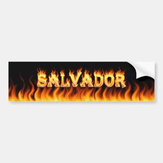 Salvador real fire and flames bumper sticker desig