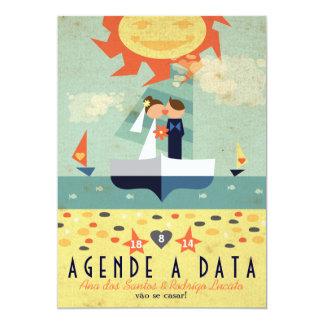 Salvar Veleiro Wedding Vintage Agende a Data Card