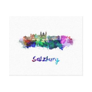 Salzburg skyline in watercolor canvas print