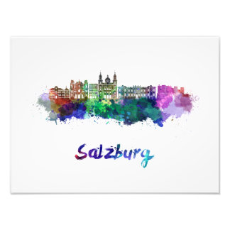 Salzburg skyline in watercolor photo print