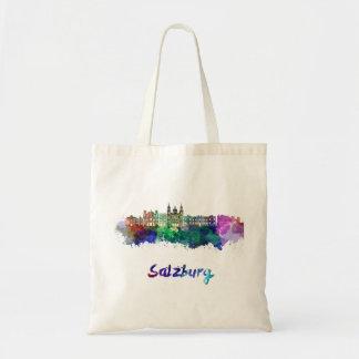 Salzburg skyline in watercolor tote bag