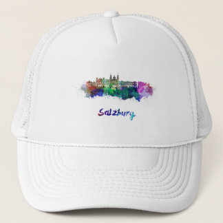 Salzburg skyline in watercolor trucker hat