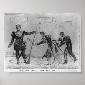 Sam Houston, Santa Anna, and Cos, 1836 Poster