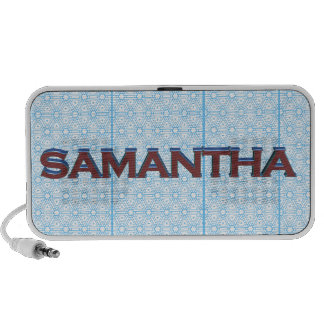 Samantha 3D text graphic over light blue lace PC Speakers