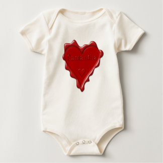 Samantha. Red heart wax seal with name Samantha Baby Bodysuit