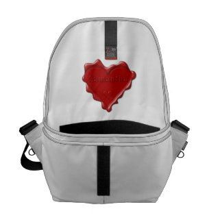 Samantha. Red heart wax seal with name Samantha Commuter Bag