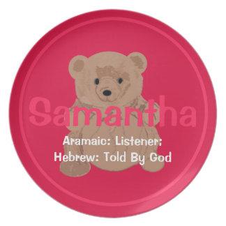 Samantha Teddy Bear Plate