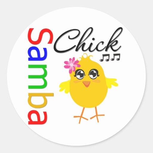Samba Chick Round Sticker