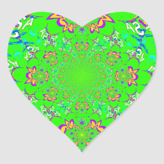 Samba Colorful Bright floral damask design colors Heart Sticker