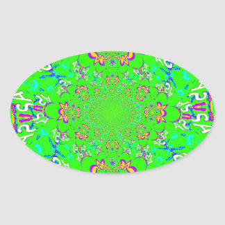 Samba Colorful Bright floral damask design colors Oval Sticker