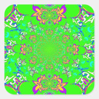 Samba Colorful Bright floral damask design colors Square Sticker