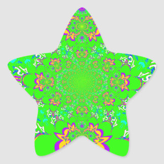 Samba Colorful Bright floral damask design colors Star Sticker