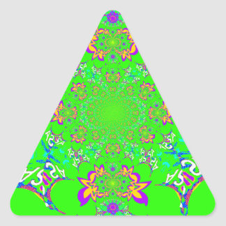 Samba Colorful Bright floral damask design colors Triangle Sticker
