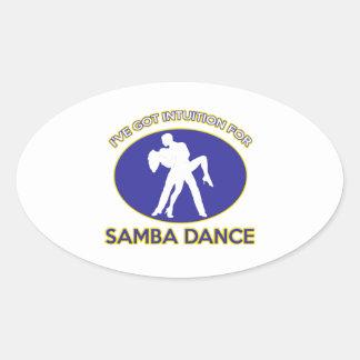 samba dance design oval stickers