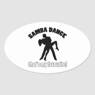 samba dance designs oval sticker