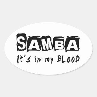 Samba Dance It's In My Blood Oval Sticker