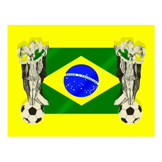 Samba football futebol fans 2010 Brazil flag gifts Postcard