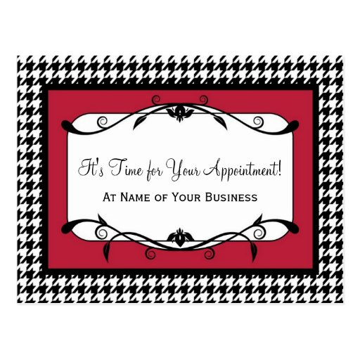 Samba Red Houndstooth Appointment Reminder Postcards