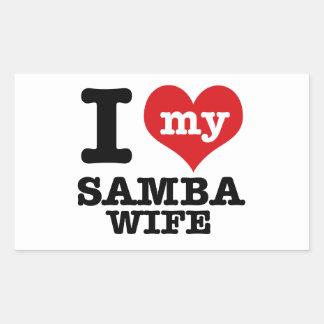 samba wife rectangular sticker