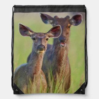 Sambar Deers in the meadows, Corbett National Park Drawstring Bag