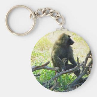 Samburu Baboon Basic Round Button Key Ring