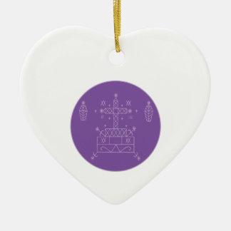 Samedi Veve Double-Sided Heart Ceramic Christmas Ornament