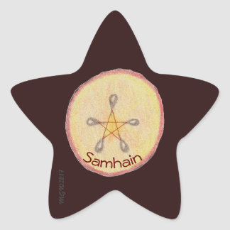 Samhain Apple Slice Witch Wiccan Pagan Star Sticker