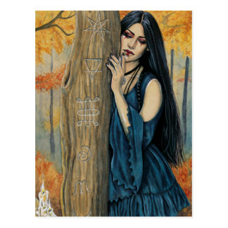 Samhain Gothic Autumn Witch Fantasy Art Postcard