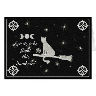 Samhain Magick Cat on Broom Black and White Card