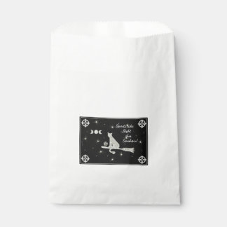 Samhain Magick Cat on Broom Black and White Favour Bag