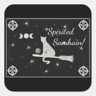 Samhain Magick Cat on Broom Black and White Square Sticker