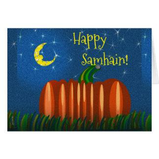 Samhain Pumpkin Under The Moon & Stars Card