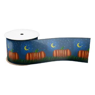 Samhain Pumpkin Under The Moon & Stars Satin Ribbon