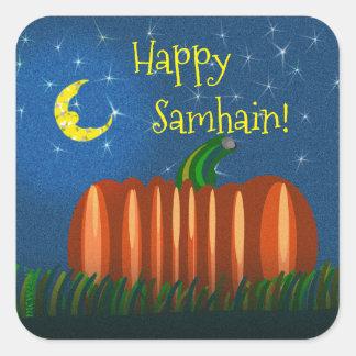 Samhain Pumpkin Under The Moon & Stars Square Sticker