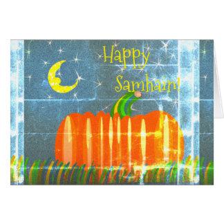 Samhain Pumpkin Under The Moon & Stars Vintage St Card