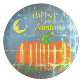 Samhain Pumpkin Under The Moon & Stars Vintage St Plate
