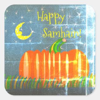Samhain Pumpkin Under The Moon & Stars Vintage St Square Sticker