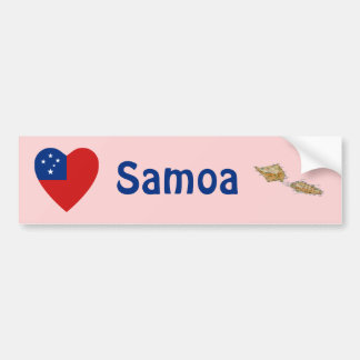 Samoa Flag Heart + Map Bumper Sticker