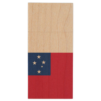 Samoa Flag Wood USB Flash Drive