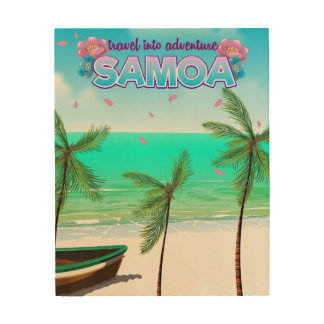 "Samoa ""travel into adventure"" travel poster. wood wall decor"