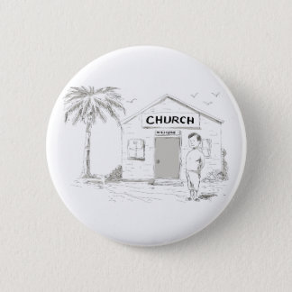 Samoan Boy Stand By Church Cartoon 6 Cm Round Badge