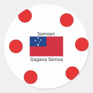 Samoan Language And Samoa Flag Design Classic Round Sticker