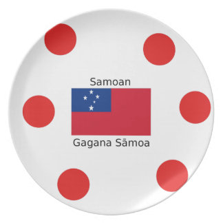 Samoan Language And Samoa Flag Design Plate