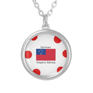 Samoan Language And Samoa Flag Design Silver Plated Necklace