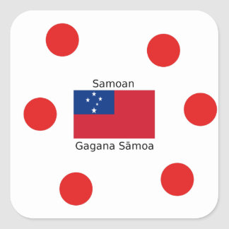 Samoan Language And Samoa Flag Design Square Sticker